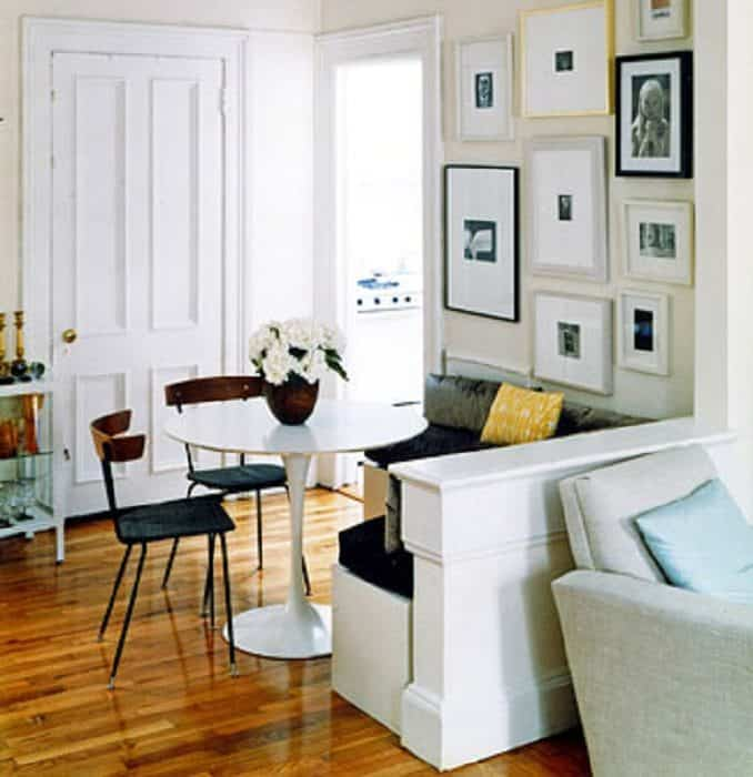 half wall banquet table nook in small space living area