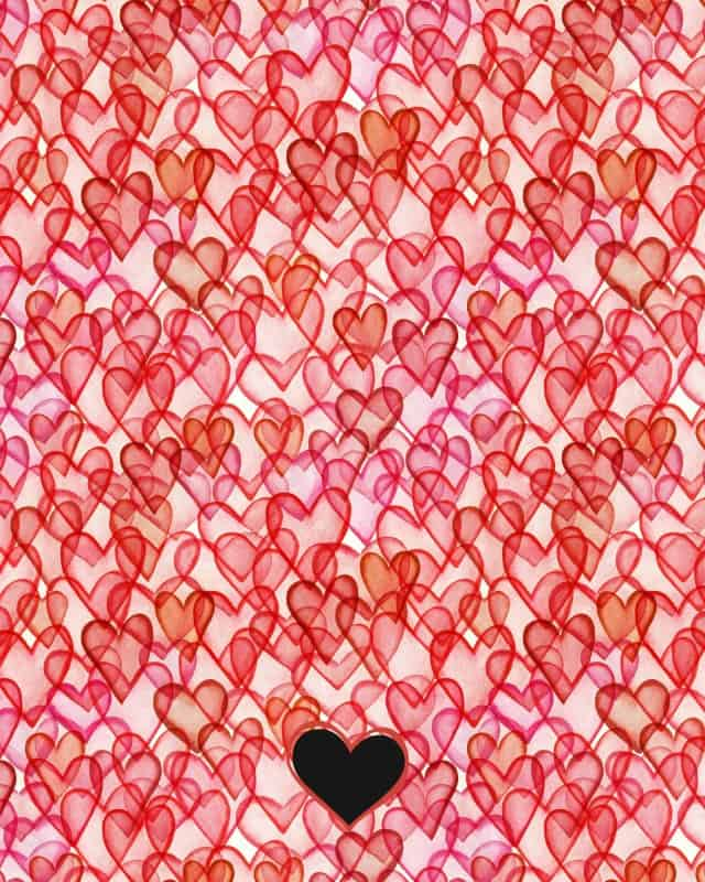 Hearts watercolor seamless pattern