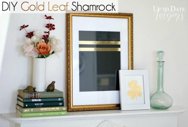 diy gold leaf shamrock clover