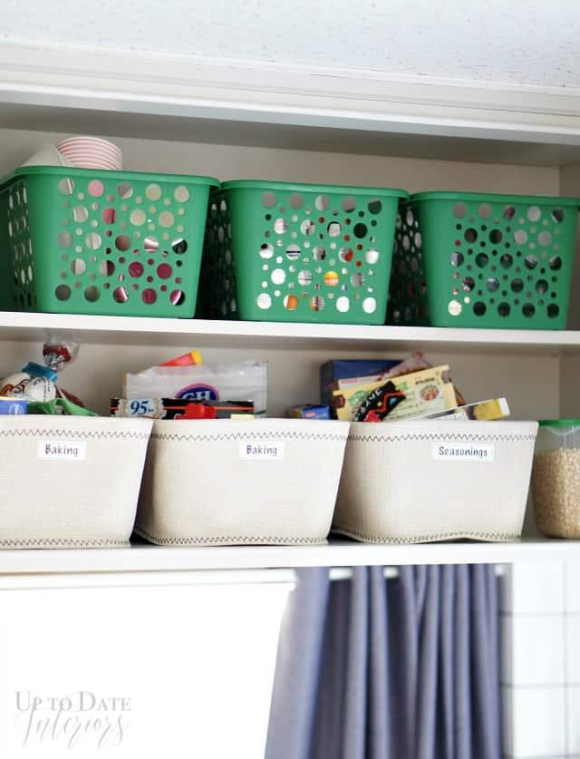 kitchen storage with labels