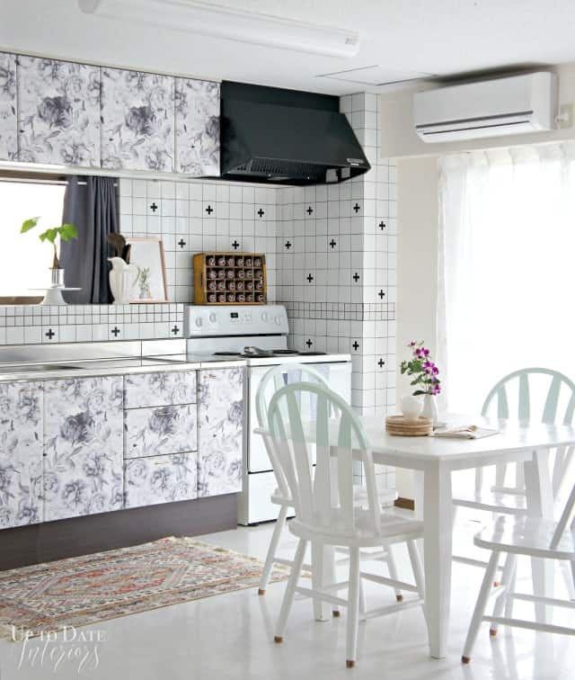 kitchen cabinets with removable wall paper