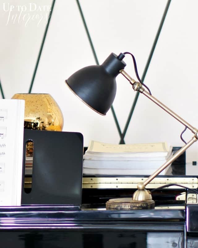 table top desk lamp makeover with brass and black