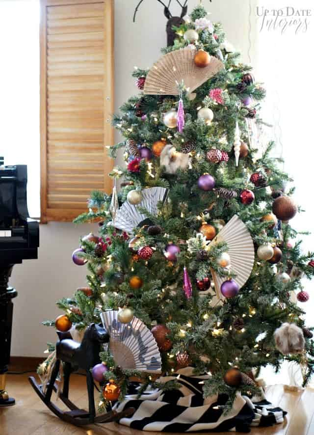 An eclectic global Christmas tree in a Japanese rental