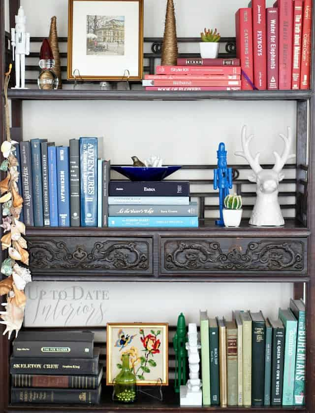 christmas bookcase with colorcoded books