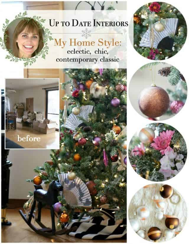 eclectic Christmas tree with DIY ornaments and dollar store embellishments