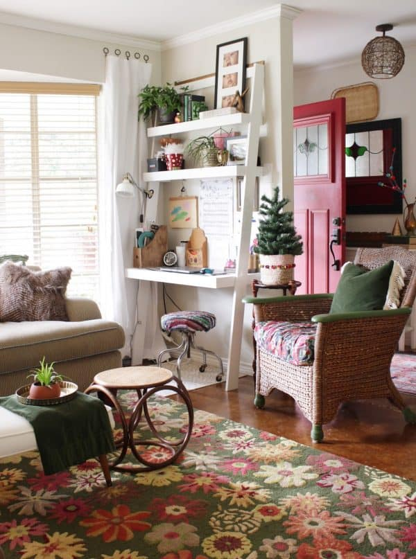 eclectic Christmas home tour office area
