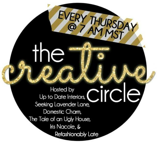 the creative circle weekly link party logo with hostesses names