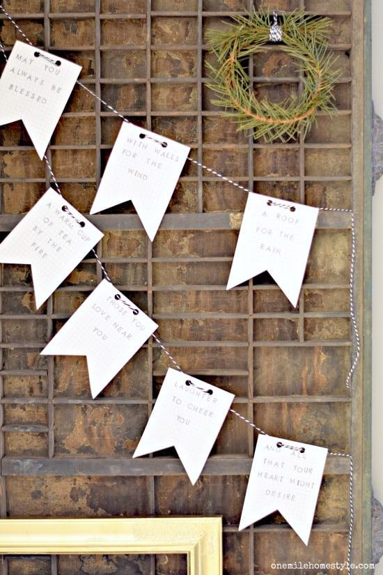 DIY Irish Blessing Stamped Paper Garland