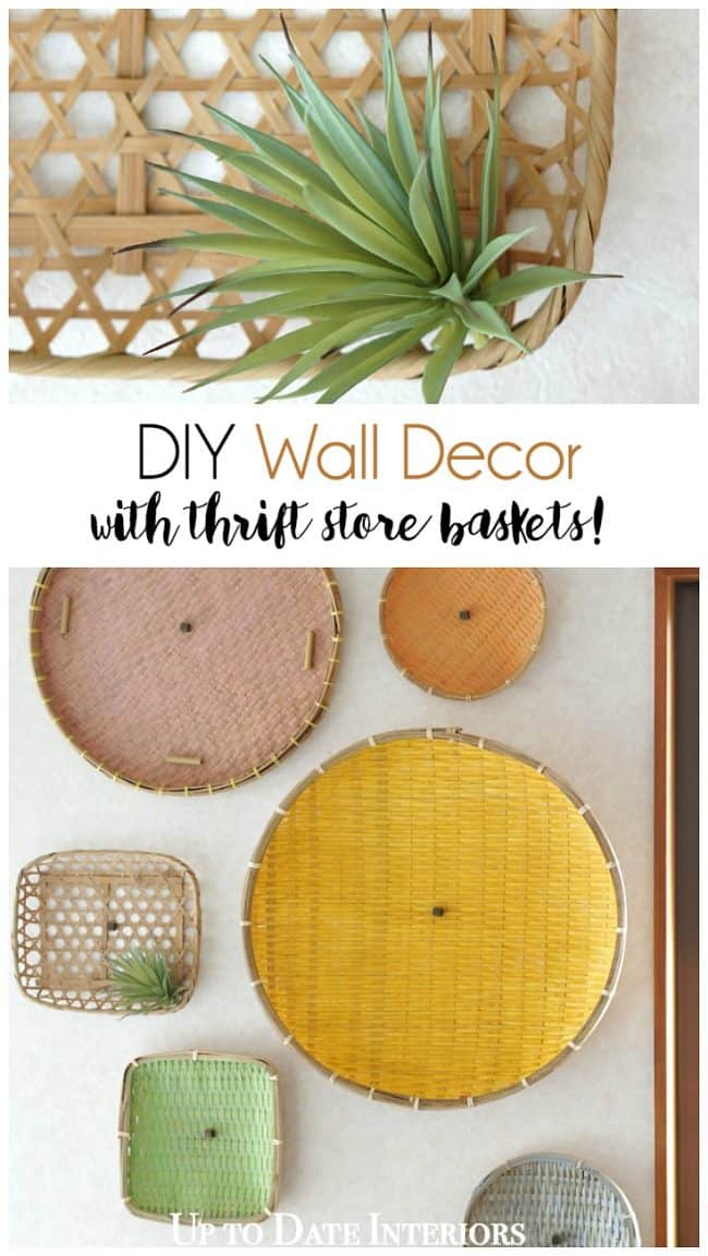 DIY wall art decor with thrifted baskets and renter friendly