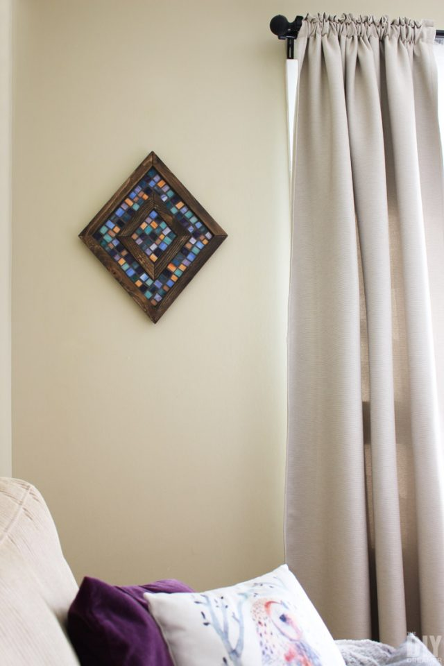Diamond-Shaped-Wood-and-Mosaic-Wall-Art
