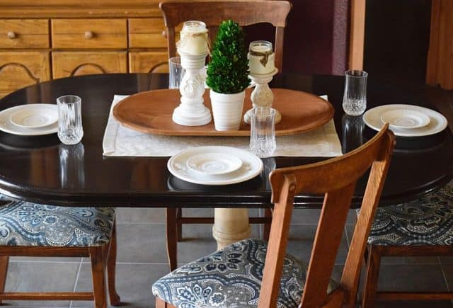 dining table makeover stained