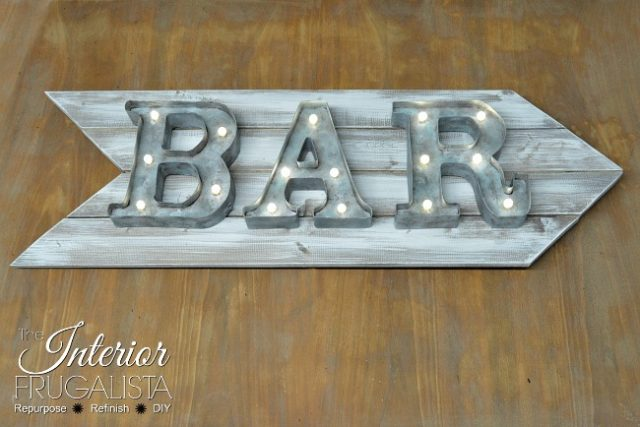 Rustic Marquee Bar Sign Wide 650