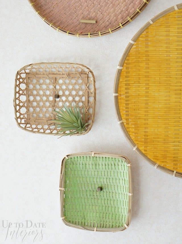 create diy wall art with painted baskets