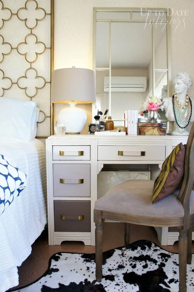 vanity corner in bedroom with repurposed desk