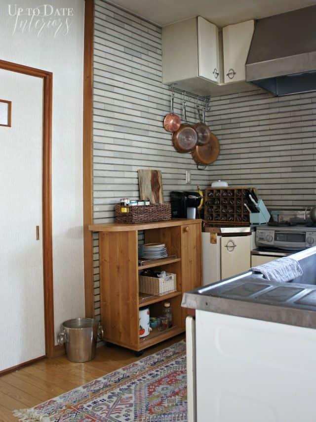kitchen corner copper pots