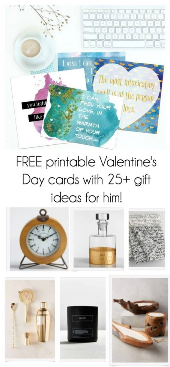 free printable valentine's day gift cards with 25+ gift ideas for him!