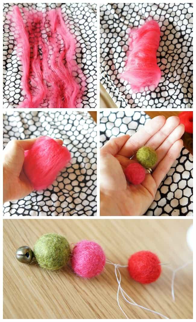 wet felt wool balls DIY