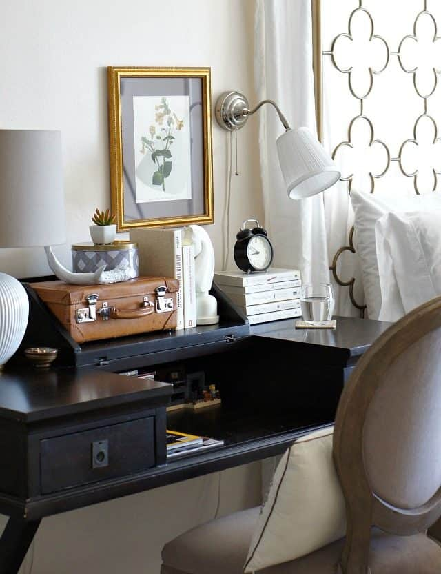 use a desk as a bedside table