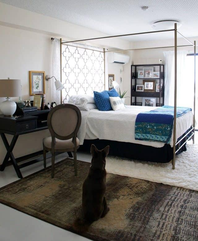 use rugs to hide rental floors hard or carpet