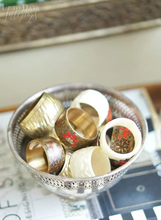 British colonial style with collected vintage napkin rings