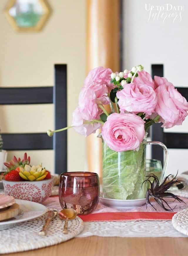 peonies and cabbage centerpiece