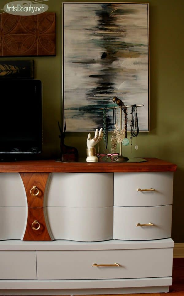 mcm mid century modern seagull gray general finishes dresser makeover eclectic bohemian