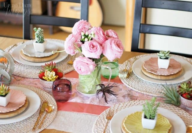 spring table with succulents air plants and peonies