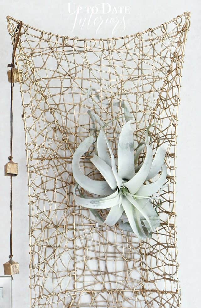 spray painted basket with air plant and brass bells