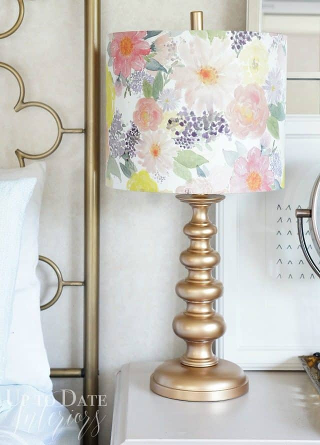 gold lamp base with floral lamp shade