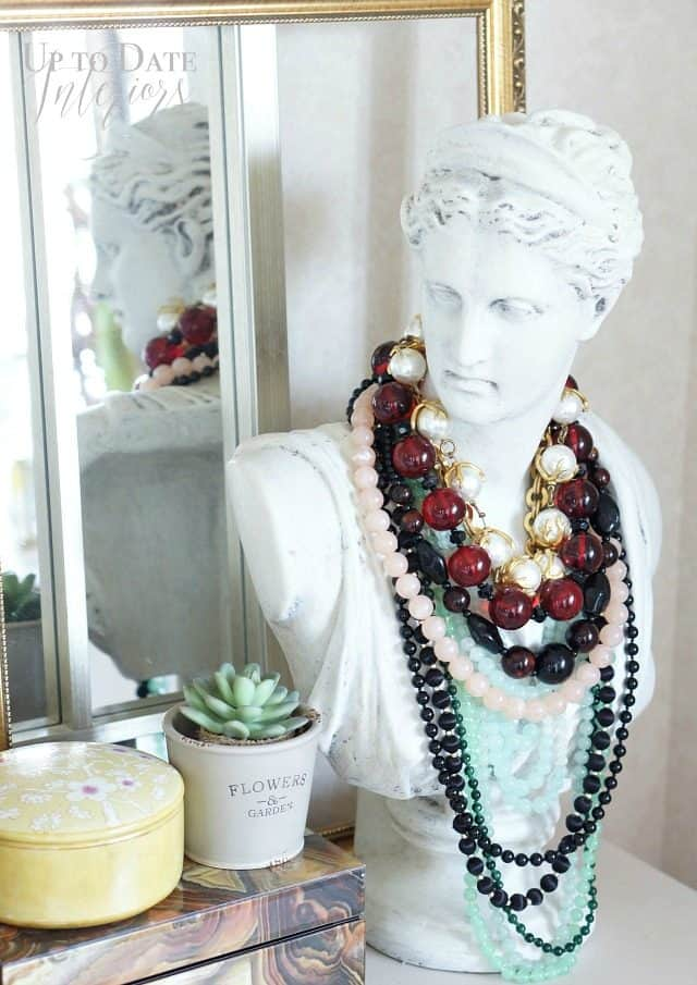 Iris Apfel inspired layered necklaces on bust