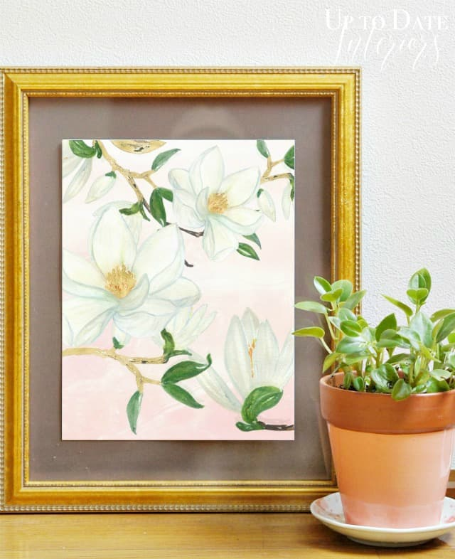 free floral printable with pink and magnolia