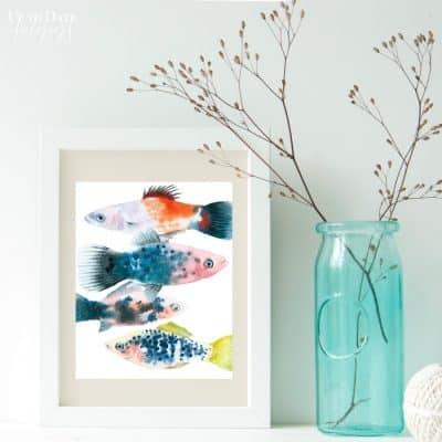 Free Watercolor Fish Printable